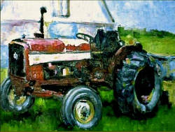 """Tractor"" Oil Painting © 2002 Tanya M. Ziniewicz"